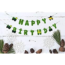 Green Felt Tractor Happy Birthday Banner Pennant - Tractor Banner - Farm Banner - john deere for Kids Birthday Party Baby Shower