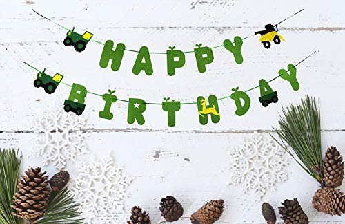 Farm Scene Green Tractor - Green Felt Tractor Happy Birthday Banner Pennant - Tractor Banner - Farm Banner - john deere for Kids Birthday Party Baby Shower