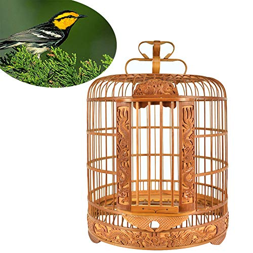 DJLOOKK Dragon Carving Bird Cage Chuan Cage Carving Thrush Bird Cage Large Size Bamboo Cage Bird Cage Eight Brothers Boutique Cage Suitable for Bird Breeding -