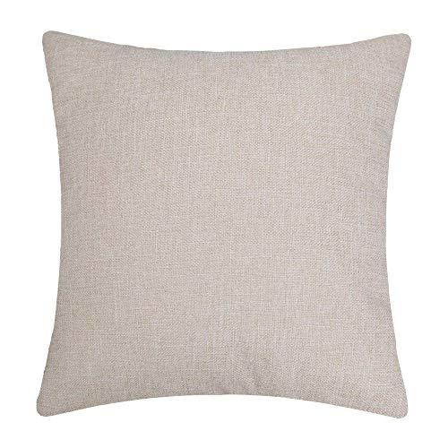 16 Medium Beige Linen - Bursonvic Cotton Linen Throw Pillow Cover, Home Farmhouse/Modern Decorative Solid Pillow Case Cushion Cover for Sofa (Beige, 16