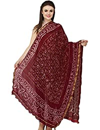 Exotic India Bandhani Tie-Dye Gharchola Dupatta from Jodhpur with Golden Thread Weave - Color Deep Wine