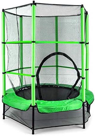Klarfit Rocketkid • trampolín • Adaptado al jardín • para Los Niños De Más De 3Años • Florido • Superficie de Salto de 140cm • Red de Seguridad • Cuerdas • Carga máxima 50kg