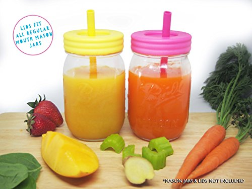 Regular Mouth Mason Jars Straw Lids + Silicone Straws + Cleaning Brush, Plastic Lids with Straw Hole, Great for Toddler, Kids & Adult Drinks, Reusable, No Rust, BPA Free, 4 Pack by Jervis & George (Image #3)