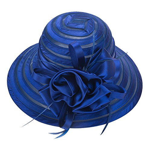 Lawliet Womens Satin Church Wedding Kentucky Derby Sun Hat A214 (Royal Blue) ()