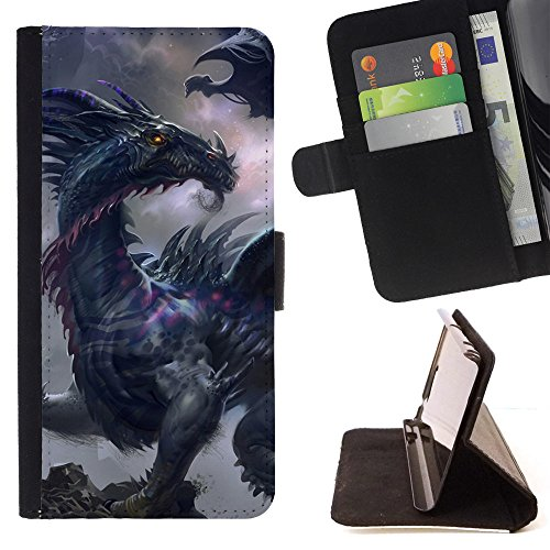 God Garden - FOR Apple Iphone 5C - Beast Dragons - Glitter Teal Purple Sparkling Watercolor Personalized Design Custom Style PU Leather Case Wallet Fli