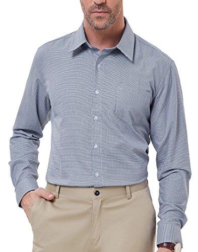PAUL JONES Men's Modern Fit Plaid Shirt Houndstooth Dress Shirt by PAUL JONES
