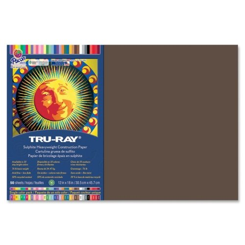 Wholesale CASE of 25 - Pacon Tru-Ray Heavyweight Construction Paper-Construction Paper,76 lb.,12''x18'',50/PK,Dark Brown by PAC