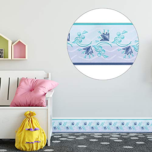 (Livelynine Fresh Flower Border Blue Floral Wall Border for Kids Bedroom Peel and Stick Wallpaper Borders for Bathroom Decor Adhesive Wall Decals for Craft Mirror Windows 4inx32.8ft)