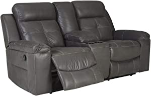 Signature Design by Ashley Jesolo Reclining Loveseat with Console, Dark Gray