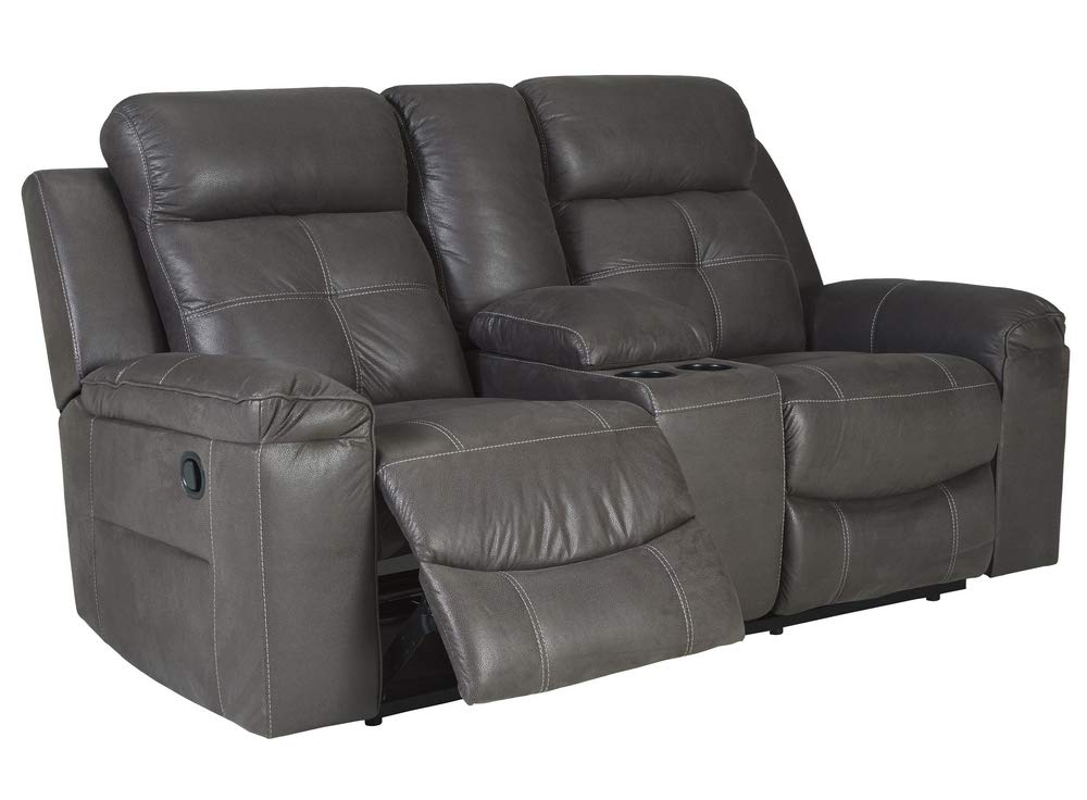 Signature Design by Ashley 8670594 Jesolo Reclining Loveseat with Console, Dark Gray