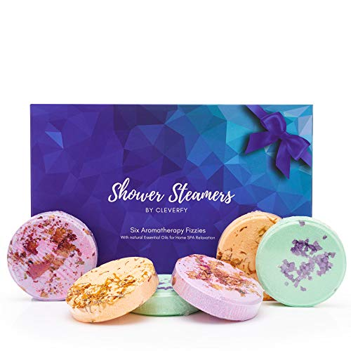 Cleverfy Shower Bombs Aromatherapy Steamers - Purple Box Set of [6] Shower Steamers With Essential Oils For Home Spa. Shower Melts a.k.a. Vaporizing Shower Tablets are Perfect for Sinus Relief