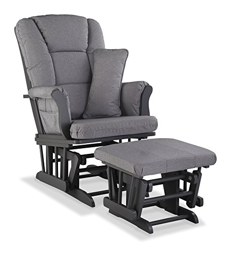 Storkcraft Tuscany Custom Glider and Ottoman with Free Lumbar Pillow, Gray/Slate Gray - Line Glider