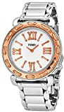 Fendi Selleria Womens Stainless Steel Fashion Swiss Watch - Mother of Pearl Face Rose Gold Bezel Vintage Dress Watch For Women with Interchangeable Band F8002345H0-BR8653