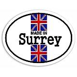 Made In Surrey - Union Jack British Flag Sticker For Car Bike Van Camper Decal Bumper Sign