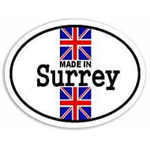 Made In Surrey - Union Jack British Flag Sticker For Car Bike Van Camper Decal Bumper Sign