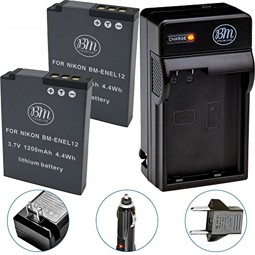 BM Premium 2-Pack of EN-EL12 Batteries & Battery Charger Kit for Nikon Coolpix A900, AW100, AW110, AW120, AW130, S31, S800C, S6100, S6200, S6300, S8100, S8200, S9050, S9100, S9200, S9300, S9400, S9500