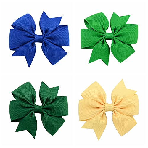 HeeBin 40PC Baby Girl Grosgrain Ribbon Boutique Hair Bows,Hair Bows For Girls And Baby,2PC Bow Hanging Holders As a Gift