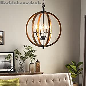 Amazon Com Contemporary Metal And Wood Frame Orb