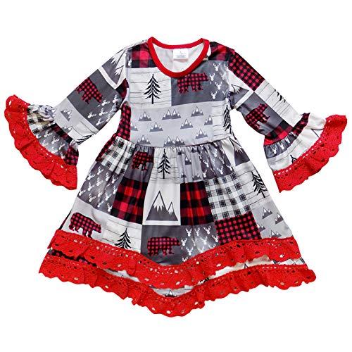 So Sydney Toddler Girls Boho Ruffle Crochet Lace Trim Flare Sleeve Dress (2T (XS), Buffalo Plaid Patch)