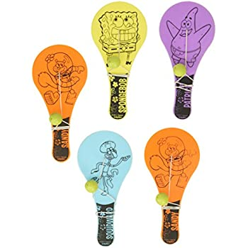 Amazon.com: amscan Party Paddle Balls | Spongebob Collection ...
