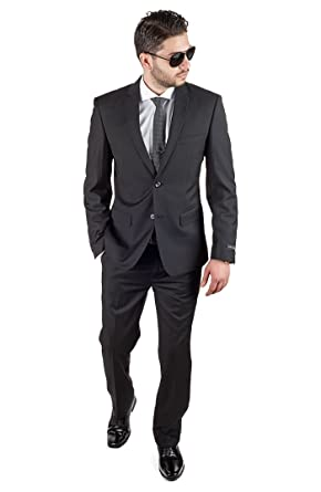 32e649d6f3e Slim Fit Men Suit Solid Black 2 Button Notch Lapel Flat Front Pants By Azar  (