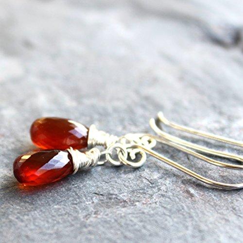 Spessartite Garnet Earrings Sterling Silver Rust Red Orange Faceted Gemstone Briolettes