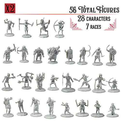 "DnD Miniatures- 56 Mini Figures (28 Unique Characters) - 1"" Hex-sized for D&D Dungeons and Dragons, Pathfinder, and All RPG Tabletop Games- 7 Fantasy Races - Goblins, Orcs, Gnolls, Skeletons & More"