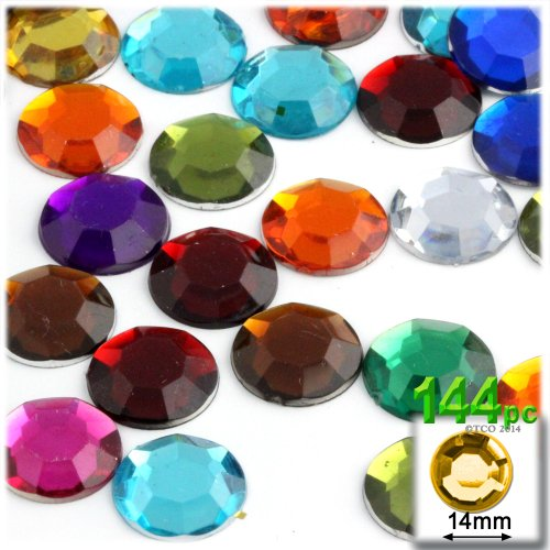The Crafts Outlet 144-Piece Round Rhinestones, 14mm, Jewel Tone Assortment