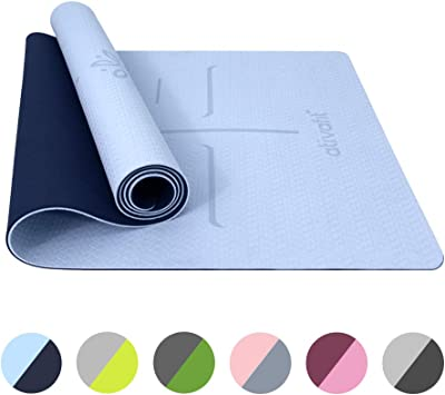 ATIVAFIT Non Slip TPE Yoga Mat Eco Friendly Exercise & Workout Mat with Carrying Strap Types of Yoga, Extra Large Exercise - 72x25.2x0.24 Inch