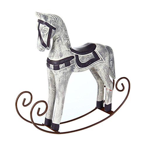 Pawaca Rocking Horse Statue Mediterranean Style Elegant Noble Wood Horse Sculpture Crafts for Home Office Table Decoration Ornaments Gifts -