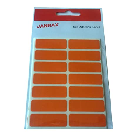Coloured Self Adhesive Rectangular Stickers Pack of 98 Orange 12x38mm Labels