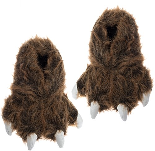 Bear Paw Footwear - Wishpets Grizzly Bear Paw Slippers w/White Claws (Brown, M)