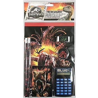 Jurassic World Stationery Pencil Eraser Sharpener Calculator Memo Note Pad 7pcs: Toys & Games
