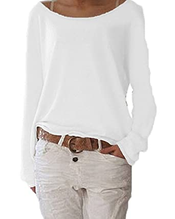 541c8dad9e7a ZIOOER Damen Pulli Langarm T-Shirt Rundhals Ausschnitt Lose Bluse Hemd  Pullover Oversize Sweatshirt Oberteil