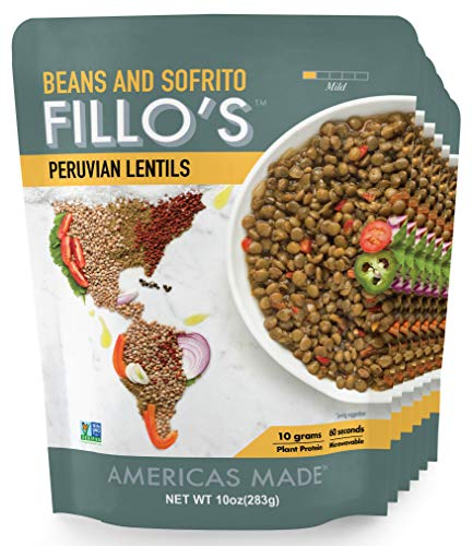 FILLO#039S Peruvian Lentils Ready to Eat Sofrito and Lentils 6 Count 10 Ounces Each Seasoned With Fresh Vegetables Microwavable NonGMO Vegan Plant Protein