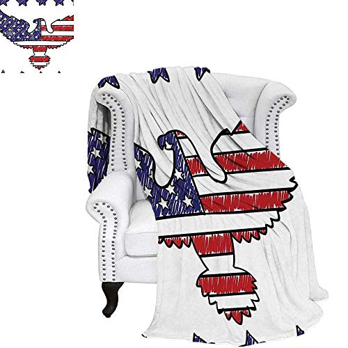 WilliamsDecor American Flag Velvet Plush Throw Blanket Sketch Patriotic Bald Eagle National Icon Majestic Emblem Symbolic Image Art Weave Pattern Blanket 80