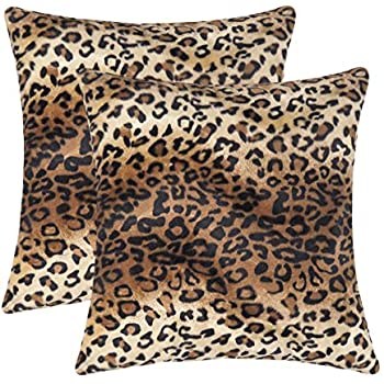 CARRIE HOME Soft Plush Leopard Print Faux Fur Decorative Throw Pillow Covers for Home Couch Sofa (Set of 2, 18x18 inch)
