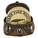 Cheap Pine Ridge Fisherman Fishing Creel Cool Table Drink Coaster Set Of 4 With Fishing Basket Base – Unique Funky Beverage Non-slip Coaster Home Decor Gift Ideas
