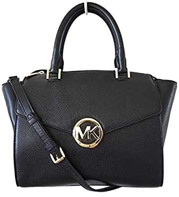 michael kors leather hudson large satchel bag in black. Black Bedroom Furniture Sets. Home Design Ideas