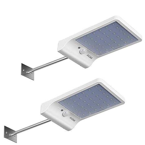 Luces Solares, AGM Lámpara Solar 36 LED Iluminación Foco Solar Luz de Pared Exterior Sensor