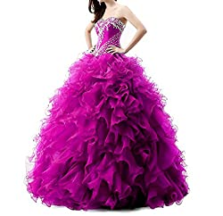 Long Beaded Organza Quinceanera Dress