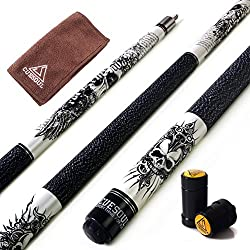 "CUESOUL Rockin Series 57"" 21oz Maple Pool Cue Stick Set with Joint Protector/Shaft Protector and Cue Towel G407"