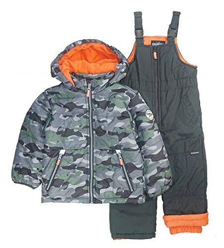 Osh Kosh Boys' Toddler Ski Jacket and Snowbib Snowsuit Set, Camo Print, 2T