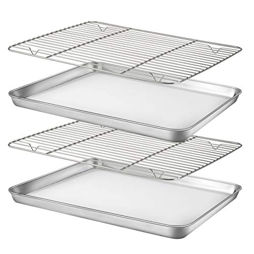 Baking Sheet with Rack Set [2 Sheets+2 Racks], HUSHIDA Stainless Steel Cookie Sheet Pan with Cooling Rack for Oven(16″ x 12″ x 1″ ), Nonstick Baking Pans Tray, Non-Toxic, Heavy Duty, Easy Clean