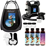 Ultra Pro T85-QC High Performance Sunless Turbine Spray Tanning System; Belloccio 4 Solution Variety Pack, Tanning Tent, Accessories and DVD