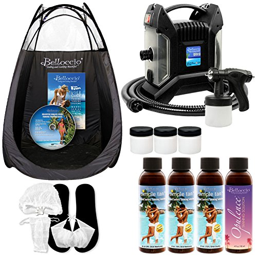 Ultra Pro T85-QC High Performance Sunless Turbine Spray Tanning System; Belloccio 4 Solution Variety Pack, Tanning Tent, Accessories and (Spray Tan Machine)