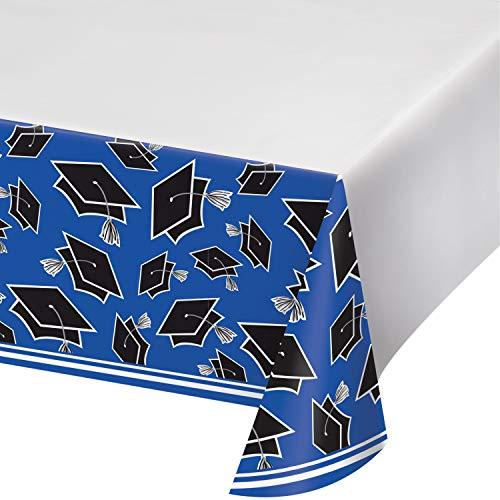 Graduation School Spirit Blue Tablecloths, 3 ct