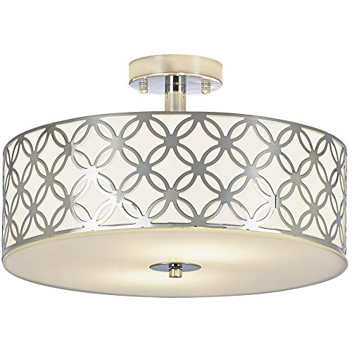 SOTTAE 12'' Luxurious Living Room Bedroom Ceiling lamp Creamy White Glass Diffuser Chrome Finish Flush Mount Ceiling Light,Modern Ceiling Light Fixture