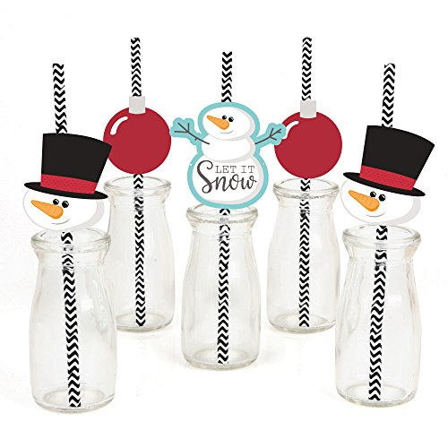 Let It Snow Paper Straw Decor - Snowman - Holiday & Christmas Striped Decorative Straws - Set of 24 ()
