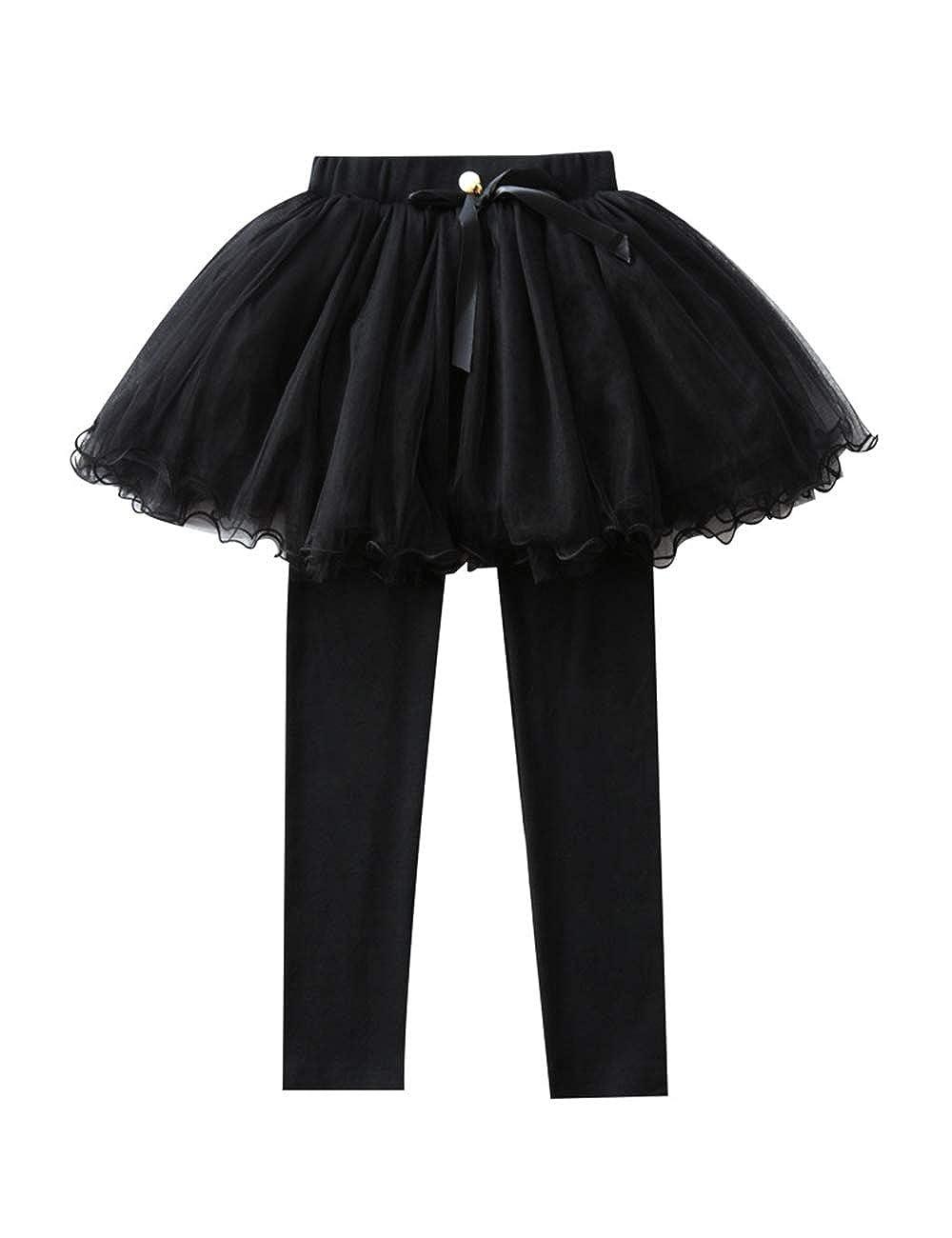 Zhhlinyuan Girls Leggings and Skirt Set Age 7 8 9 10 11 Years Elastic Fabric